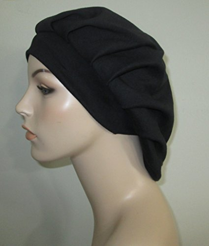 (Women's Pleated Black Knit Snood Religious Head Cover Chemo Hat Alopecia Cancer Hat)