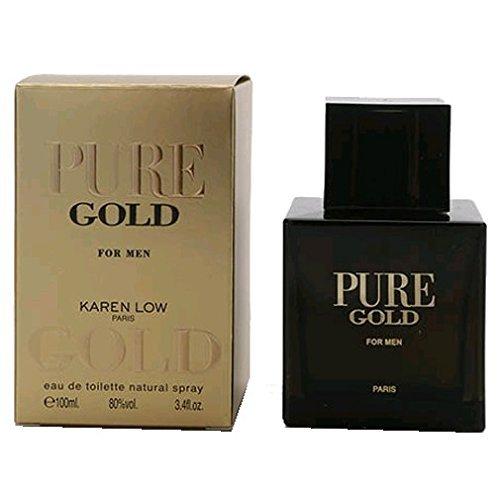 Pure Gold by Karen Low, 3.4 oz Eau De Toilette Spray for Men