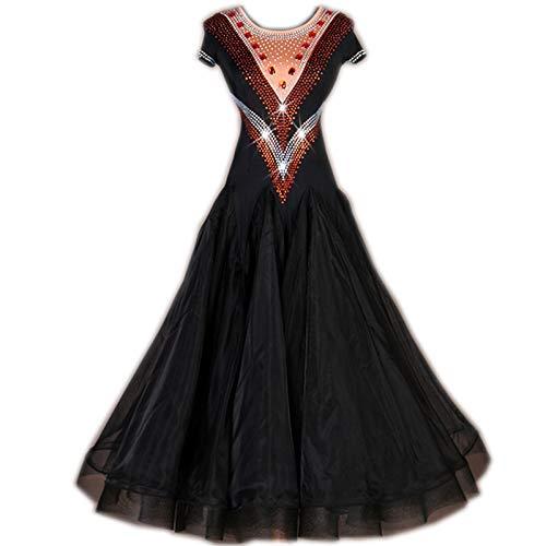 garuda★レディース社交ダンス衣装 競技ワルツドレス セミオーダー可 NEW 2色 B07RVLYX1V ブラック Medium