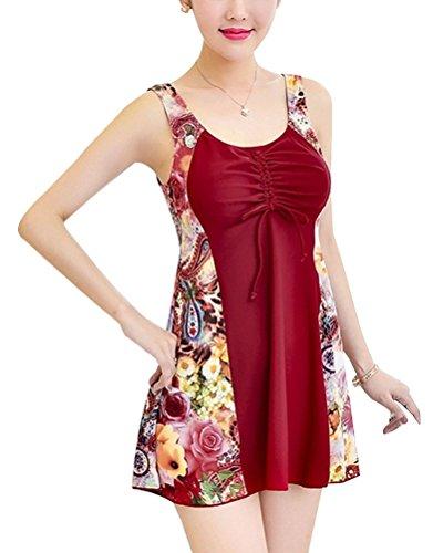 YoungSoul Trajes de baño push up mujer tallas grandes Vestidos de baño con Estampado de Flores Traje de baño de Una Pieza Bañador con Falda Vino Rojo