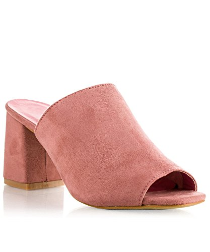 ROF Women's Slip On Peep Toe Mules Stacked Chunky Heel Heeled Sandals PINK (8)