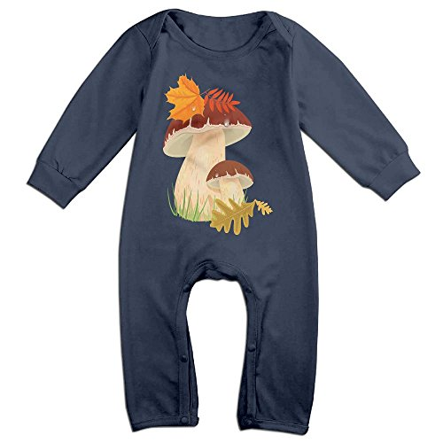 (Baby Infant Romper Fall Mushroom Long Sleeve Jumpsuit Costume Navy 12)