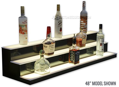3 Tier LED Lighted Bar Shelves - Low Profile Style (24'' Length) by Customized Designs (Image #4)