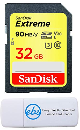 SanDisk 32GB SDHC SD Extreme Memory Card Bundle Works with Canon EOS 77D, 80D, 70D, 6D, 60D Digital DSLR Camera 4K V30 U3 (SDSDXVE-032G-GNCIN) Plus (1) Everything But Stromboli (TM) Combo Card Reader