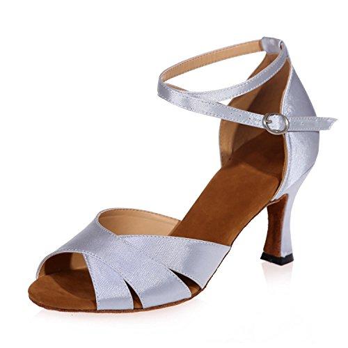 yc De Zapatillas Cuero Latino Abrochan Sandalias Mujeres Personalizable Moderno Las L Baile Con Se Blanco Grueso dnpRqwWF