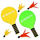 EVERICH TOY Paddles Ball, Wooden Badminton for Beginner,Indoor Outdoor Games for Kids and Adults(2 Rackets,4 Birdies,1 Carry Bag) (Color: Yellow and Green)