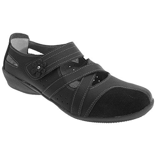 Boulevard Damen Sommerschuhe / Mary-Jane-Schuhe / Halbschuhe mit Klettverschluss Schwarz