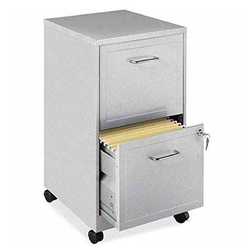 File Cabinet 2 Drawer Wheels Rolling Storage Home Office with Lock and Key Furniture Mobile Filing Cart Organizer Stainless Steel (Silver)