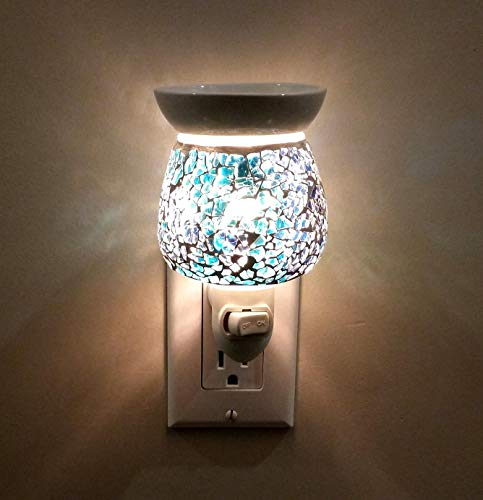(Relaxus Aroma Sparkle 2 in 1 Plug-In Essential Oil Night Light Diffuser: Crackle Glass (Blue))