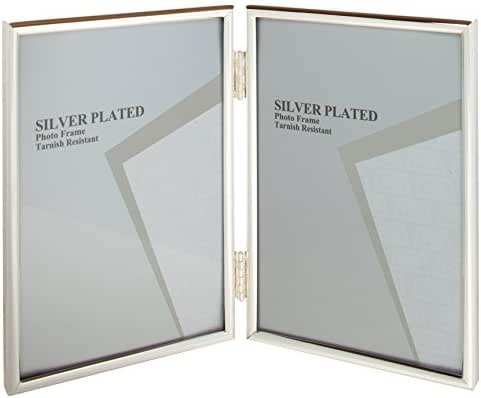 Viceni Silver Plated Thin Edge Hinged Double Aperture Photo Frame, 4 by 6-Inch