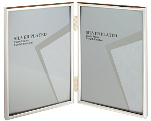 Aperture Frame - Viceni Silver Plated Thin Edge Hinged Double Aperture Photo Frame, 5 7-Inch