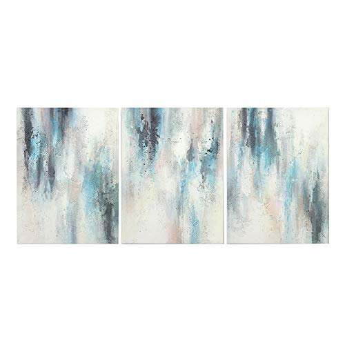 Abstract Oil Painting Blue Villages 3-Piece Gallery-Wrapped Wall Art on Canvas Modern Abstract Painting Canvas Living Room Bedroom Office Wall Art Home Decoration (Size:12x16inchesx3) with Frame (Wall Oil Piece Art)