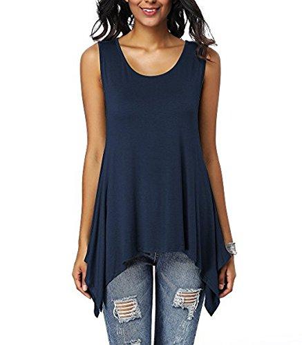 da con Mei Navy Maniche Maniche Senza Top Donna amp;s Blue Casual T Shirt wxHx0U4
