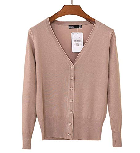 Monocromo Donna Single Classiche Lunga Moda Outwear Donne Slim Size Di XL Alta Top Maglie Fit Breasted Lana Neck V Autunno Manica Confortevole Vita Primaverile Color Maglione Khaki q6Z8qwr
