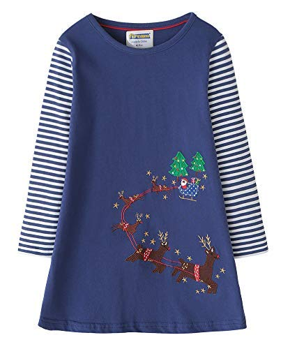 (Fiream Toddler Girls Cotton Long Sleeve Deer Patch Dress, SY014, 2T)