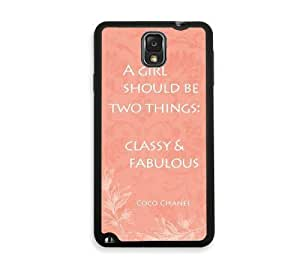 Shawnex Vintage French Coco Chanel Quote Coral Samsung Galaxy Note 3 Case - Fits Samsung Galaxy Note 3 Note III