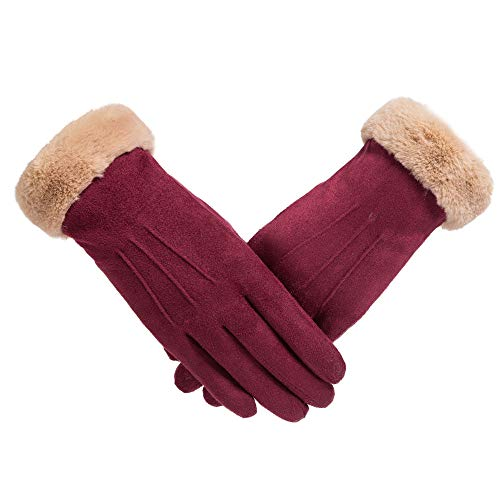URIBAKE Women's Thermal Gloves Screen Touch Solid Thick Winter Outdoor Windproof Hand Wrist Warmer Mittens