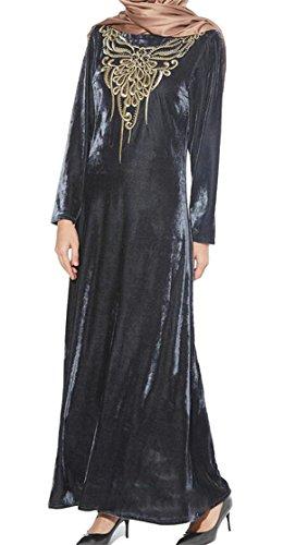 Maxi Domple Stylish Long Dress Print Velvet Embroidery Islamic Women Muslim 1 ApwpgqH8