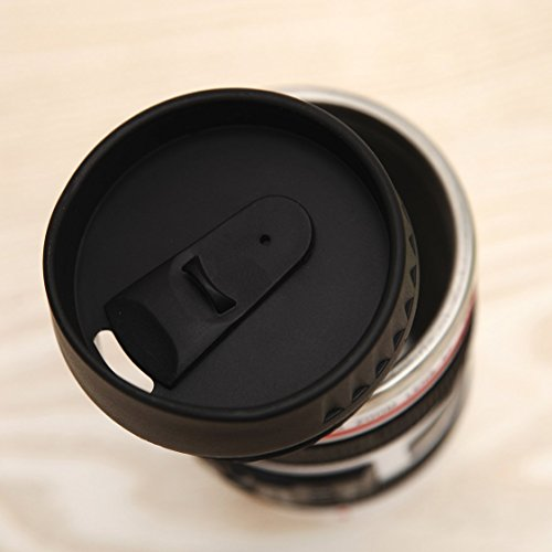 Coffee Mug - Camera Lens Travel Thermos - Stainless Steel Insulated Cup with Easy Clean Lid - 13.5oz - Black - Go with Premium Stainless Steel Spoon Bonus_uHome