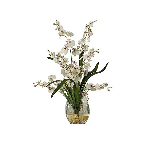 (Nearly Natural Dancing Lady Orchid Liquid Illusion Silk Flower Arrangement White)