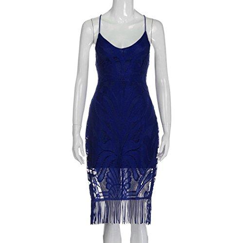 Vovotrade Blue Vestido backless sin mangas del cordón del bodycon de la manera hueco de la flor de la flor del palacio, S M L XL auzl