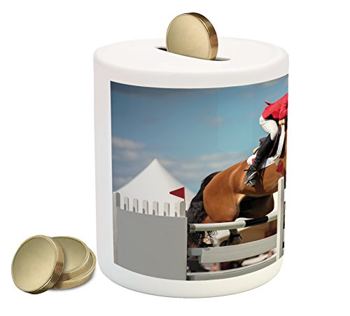 Lunarable Horse Piggy Bank, Jumping Horse and Sportsman Race Competition Performance Success Winning Event Print, Ceramic Coin Bank Money Box for Cash Saving, 3.6