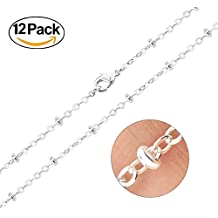 Wholesale Dainty 12 PCS Silver Plated Brass Beaded Ball Chain Satellite Chains Bulk for Jewelry Making 18-20 Inches (18 Inch(1.5mm))