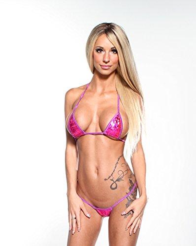 Pink Holographic Animal Print Sexy Micro G-String Bikini Mini Thong with (Bikini Stripper)