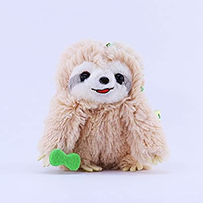 Amuse Sloth Plush Namakemono Mikke Matarri Brown With Leaf - Sloth Plush Ball Keychain 3.9&Quot; Height - Authentic Kawaii From Japan - Toy