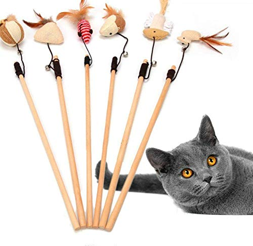 (6pcs Pet Cat Catcher Toy Wooden Pole With Bells Elastic Rod Funny Cat Mouse Pumpkin Head Feather Chick Fish)