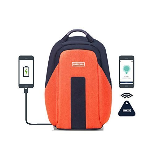 (CARRIALL Vasco Smart Laptop Backpack with Bluetooth Connectivity with Mobile App, USB Charging Port, Anti-Cut Anti Theft and Water Resistant, Office Bag for Business, Work, College, Travel-Orange)