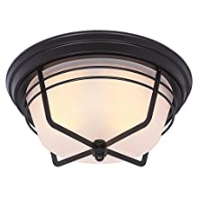 Westinghouse 6230300 Bonneville Two-Light Exterior Flush-Mount Fixture, Weathered Bronze Finish on Steel with Frosted Glass