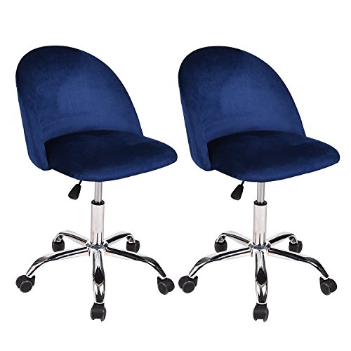Salon Reception Chairs - Swivel Drafting Rolling Stool - Adjustable Spa Salon Barstools Set of 2 with Back Support and Wheels Flannel Fabric 360 Degree Swivel for Bar Table Autumn Winter Heavey Duty