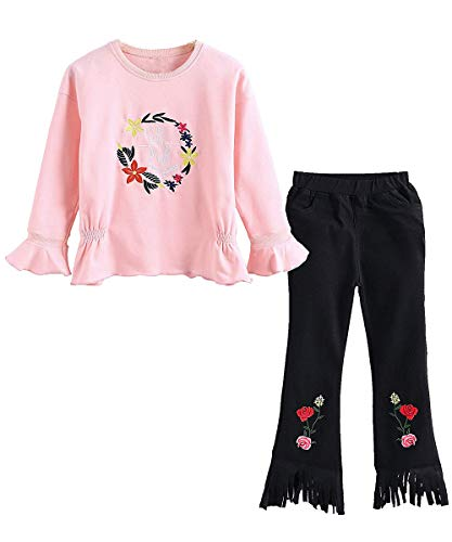 Urtrend Little Girls' Kids Long Sleeve Top Pants Leggings Set Outfits(160,Flower Pink)