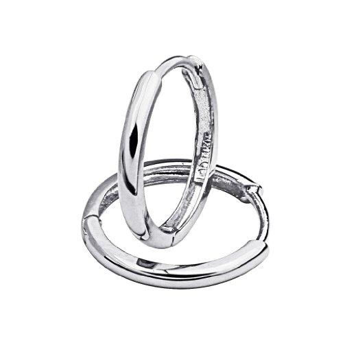 14k White Gold 2mm Thickness Hoop Huggie Earrings (15 x 15 mm) - White Gold Huggie Earrings