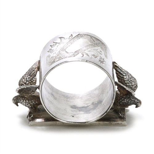 Meriden Napkin Ring, Figural by, Silverplate Eagles
