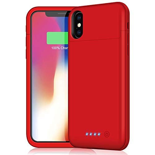 Battery Case for iPhone X/Xs/10,5200mAh Protective Portable Charger Case External Battery Pack for Apple iPhone X/10 Rechargeable Backup Charging Case Battery Power Bank (5.8 inch) (Red)