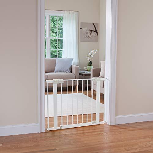 41MzAaY7SLL Safety 1st Easy Install Auto-Close Baby Gate with Pressure Mount Fastening, White    Create child-friendly spaces in your home or on-the-go with the Safety 1st Easy Install Auto-Close Baby Gate with Pressure Mount Fastening. This sturdy baby gate can be opened with one hand and adjusted to fit doorways and openings ranging from 29 to 38 inches wide. Pressure-mounted installation requires no tools, drilling, or hardware and allows for setting up this baby gate quickly and easily in doors or pass-through areas. A magnetic latch causes the baby gate to close and lock automatically, and the SecureTech indicator tells you at a glance that the gate is secure. Easily create a safe space for children in your home or when visiting family and friends by using this 28-inch-high adjustable baby gate in doorways, hallways, staircases, and more. Includes one pressure-mounted baby gate. JPMA-certified baby gate meets ASTM standards for safety and includes a one-year limited warranty. Safety 1st believes parenting should have fewer worries and more joyful moments. As the first and only leader in child safety, Safety 1st is here to give you peace of mind so you can spend less time worrying and more time enjoying every first you experience with your child. To clean, wipe with a damp cloth and dry.