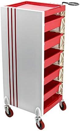 サロントロリーローリングカート 多機能トロリー理容室引き出しサロン染色髪のツール スタイリスト美容院 (Color : Red, Size : 34x37x88cm)