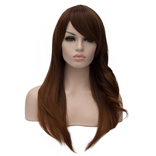 Dark Rose Maiden Costumes (Wigs for Women Dark Brown Gradient Color Wig Synthetic Women's Wigs 25 Inch Long Wavy Wonderful Natural Wig)