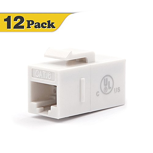 Cat5 Rj 45 White Coupler - [UL Listed] CAT6 Keystone Coupler,VCE (12-Pack) RJ45 Cat6 Female to Female Insert Coupler, UTP CAT6 Keystone Inline Coupler for Cat6 Cables