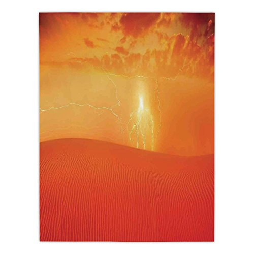 Satin Rectangular Tablecloth [ Nature,Hot Arabian Desert Landscape Dramatic Sunset in Sand Dune Wilderness Nature Theme,Red Orange ] Dining Room Kitchen Table Cloth Cover
