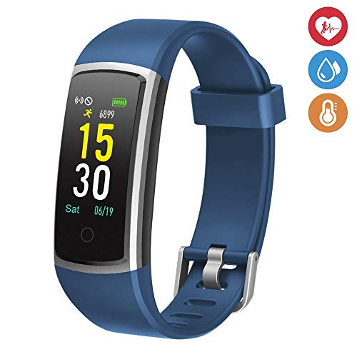moreFit Waterproof Activity Tracker, Fitness Tracker Color Screen Smart Watch, Blood Pressure Watch with Sleep Monitors, Heart Rate Calorie Pedometers Call/SMS Alert for Women Men Students Kids, Blue (Best Step Tracker App)