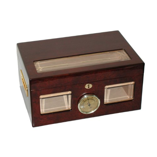 Humidor Finish High Gloss (Quality Importers Versailles 100 Cigar Glass Top Humidor, High Gloss Cherry Finish)