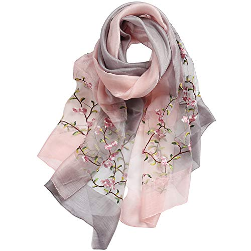 (Alysee Women Soft Warm Silk&Wool Mixed Gradient Embroidered Scarf Headwrap Shawl Pink)