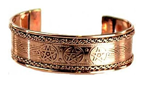 Celtic Knot Pentagram Engraved Copper Flat Side Bracelet New Age Jewelry (New Age Jewelry)