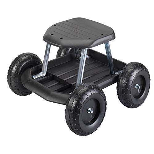 (Fox Valley Traders Rolling Garden Cart Scooter with Seat and Utility Tool Storage Tray, Black)