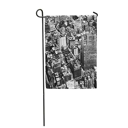 Semtomn Garden Flag 12x18 Inches Print On Two Side Polyester Aerial View in High Contrast Black and White of New York City Home Yard Farm Fade Resistant Outdoor House Decor -