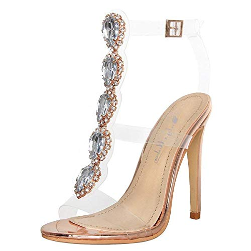 (Onlymaker Ankle Strap Gem Clear Stiletto High Heels Gladiator Transparent Strip Sandals with Rhinestones Rose Gold 6 M US)