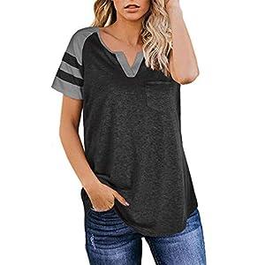 Aokosor Women's Short Sleeve V Neck Cute T Shirts for Summer